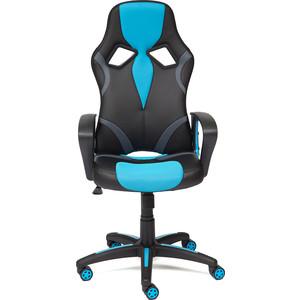 Кресло TetChair RUNNER кож/зам/ткань черный/голубой 36-6/23