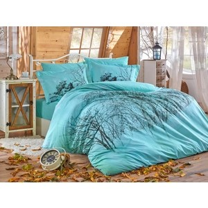 цена Комплект постельного белья Hobby home collection 1,5 сп, поплин, Margherita бирюзовый (1501002134) онлайн в 2017 году