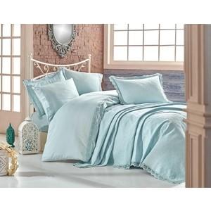 Комплект постельного белья Hobby home collection Евро с покрывалом, сатин, Elite set минт (1501002156)