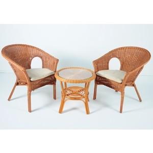 Комплект для отдыха Vinotti 02/08, 2 кресла+стол коньяк комплект для отдыха черчилль chorchill нат ротанг доступные цвета коньяк