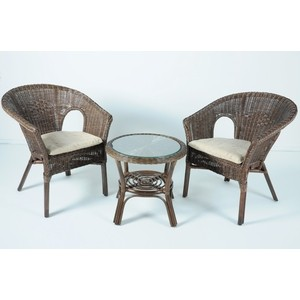 Комплект для отдыха Vinotti 02/08, 2 кресла+стол темный коньяк комплект для отдыха черчилль chorchill нат ротанг доступные цвета коньяк