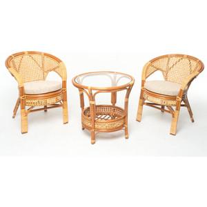 Комплект для отдыха Vinotti 02/15, 2 кресла+стол коньяк комплект для отдыха черчилль chorchill нат ротанг доступные цвета коньяк