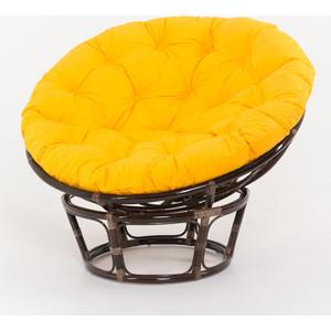купить Кресло Vinotti Papasan 23/01 Т темный коньяк, желтая подушка дешево