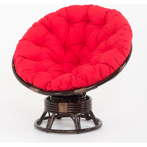 купить Кресло-качалка Vinotti Papasan 23/01В темный коньяк красная подушка дешево