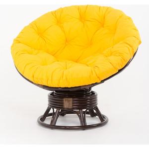 купить Кресло-качалка Vinotti Papasan 23/01В темный коньяк желтая подушка дешево
