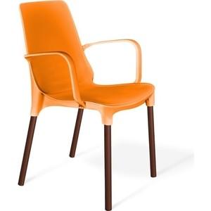 Стул Sheffilton SHT-S76 оранжевый/коричневый муар фото