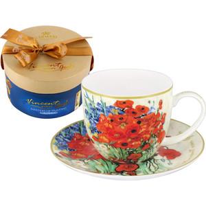 Чашка с блюдцем 0.28 л Carmani Натюрморт красными маками и ромашками (Ван Гог) (CAR2-830-0203-AL)