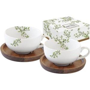 Набор чашек для кофе с крышками и подставками 2 штуки 0.12 л Easy Life (R2S) Натура (EL-R1081/NTRA)