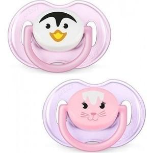 Пустышка Avent Philips силиконовая Домашние животные 0-6 месяцев, 2 шт , для девочки, 83512 philips avent силиконовая пустышка домашние животные 6 18 мес 2 шт avent оранжевый розовый