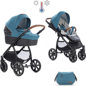 Коляска 2 в 1 Noordi Fjordi Sport Melange Leather Teal 847 термолюлька с багажной сумкой