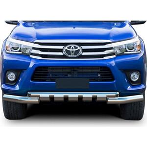 Защита переднего бампера d76+d57 с профильной защитой картера Rival для Toyota Hilux (2015-н.в.), R.5716.003