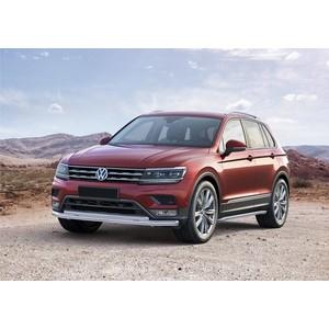 Защита переднего бампера d57+d42 Rival для Volkswagen Tiguan (для пакета offroad) (2017-н.в.), R.5803.002