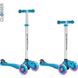 Самокат 3-х колесный Globber 442-101 Primo Plus с 3 светящимися колесами Cyan Blue globber globber самокат с сиденьем evo 4 в 1 plus c подножками и 3 светящимися колесами голубой