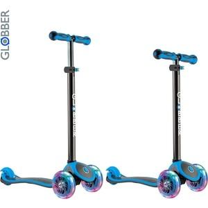 цена на Самокат 3-х колесный Globber 442-130 Primo Plus Titanium с 3 светящимися колесами Neon Blue