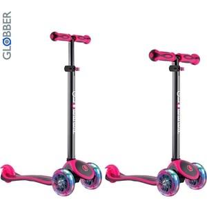 цена на Самокат 3-х колесный Globber 442-132 Primo Plus Titanium с 3 светящимися колесами Neon Pink