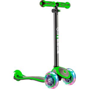 Самокат 3-х колесный Globber 442-136 Primo Plus Titanium с 3 светящимися колесами Neon Green самокат трехколёсный globber evo 4 in 1 plus 4 3 зеленый