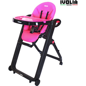 Стульчик для кормления Ivolia LOVE 02 4 колеса pink