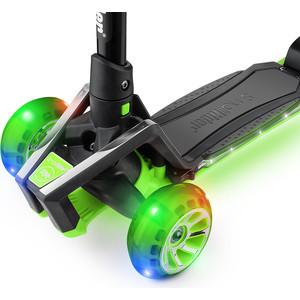 купить Самокат 3 - х колесный Small Rider с ревом мотора, свет. колесами, свет. платформой Premium Pro (зеленый) по цене 4490 рублей
