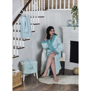 Фото - Набор халат с полотенцем Karna махровый Adra S/M ментол (2738/CHAR005) халат karna adra s m с полотенцами молочный