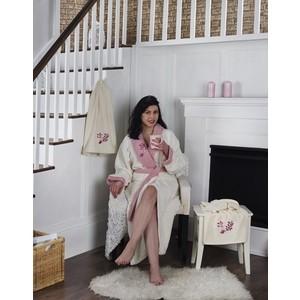 Фото - Набор халат с полотенцем Karna махровый Adra S/M молочный (2738/CHAR004) халат karna adra s m с полотенцами молочный