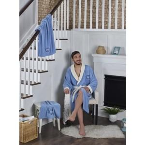 Набор халат с полотенцем Karna махровый Adra 3XL голубой (2741/CHAR006)