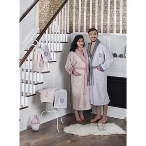 Набор семейный халат с полотенцем Karna махровый Adra серый-пудра (2746/CHAR006) халат махровый actuel темно серый размер l