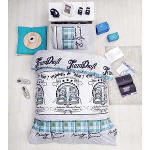 Комплект постельного белья Altinbasak 1,5 сп, ранфорс, Molly зеленый (298/43/CHAR002)
