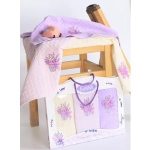 Набор кухонных полотенец Karna махровые c вышивкой Lavender 45x65 см 3 штуки (2638)