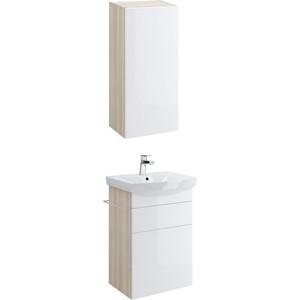 купить Мебель для ванной Cersanit Smart 50 корпус ясень, фасад белый, с ящиками недорого