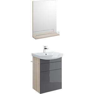 Мебель для ванной Cersanit Smart 50 корпус ясень, фасад серый, с ящиками
