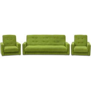 Комплект Экомебель Астра салатовая (диван + 2 кресла)