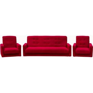 Комплект Экомебель Астра бордовая (диван + 2 кресла)