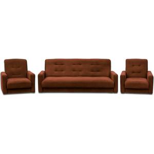 Комплект Экомебель Астра коричневая (диван + 2 кресла)