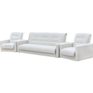 Комплект Экомебель Лондон-2 рогожка микс бежевая (диван + 2 кресла)
