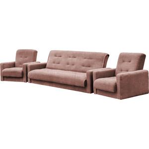 Комплект Экомебель Лондон-2 рогожка коричневая (диван + 2 кресла) диван экомебель лондон рогожка микс коричневая