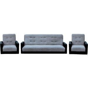 Комплект Экомебель Лондон рогожка серая (диван + 2 кресла) бэмби