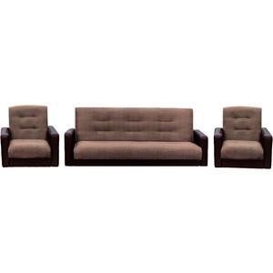 Комплект Экомебель Лондон рогожка микс коричневая (диван + 2 кресла)