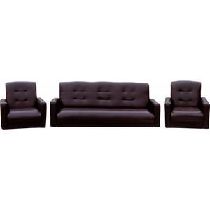 Комплект Экомебель Аккорд экокожа коричневая (диван + 2 кресла)