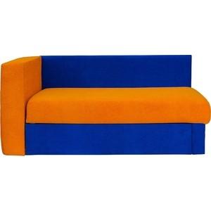 Кушетка Экомебель Глория Астра синяя-оранжевая левая