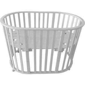 Кроватка трансформер Briciola овальная 8 в 1 без маятника, белая BR2101