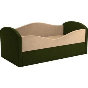 Детская кровать АртМебель Сказка вельвет бежевый+зеленый