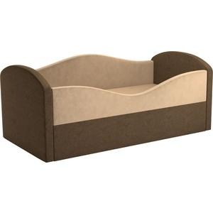 Детская кровать Мебелико Сказка вельвет бежевый+коричневый