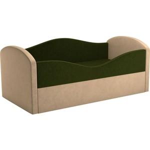 Детская кровать Мебелико Сказка вельвет зеленый+бежевый пушоккомплекс фидика бежевый зеленый
