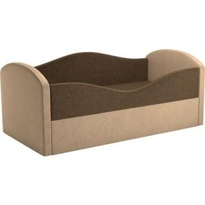 Детская кровать Мебелико Сказка вельвет коричневый+бежевый