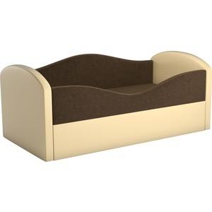 Детская кровать АртМебель Сказка вельвет коричневый+экокожа бежевый фото