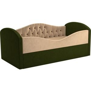 Детская кровать АртМебель Сказка Люкс вельвет бежевый+зеленый
