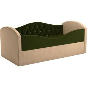 Детская кровать АртМебель Сказка Люкс вельвет зеленый+бежевый