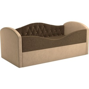 Детская кровать АртМебель Сказка Люкс вельвет коричневый+бежевый