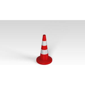 Конус Rostok сигнальный 750 мм красный с полосой (750х 427х 427) фото