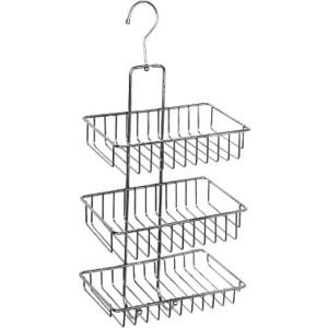 Полка-решетка Milardo прямая трехъярусная с крючком, нержавеющая сталь (015W03HM44)